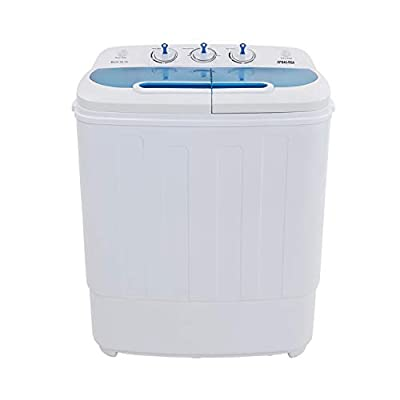 """ROVSUN Portable Washing Machine 13.4LBS Capacity with Twin Tub,Electric Compact Mini Washer, Spin Cycle w/Hose, Great for RV Camping Dorms College Rooms, 23.2''L x 13.9''W x 26.5""""H"""