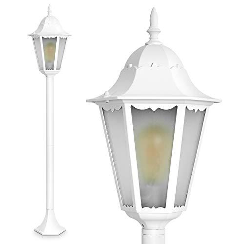 Hong Kong Frost, lámpara de pie de estilo antiguo, aluminio fundido en color blanco con cristal esmerilado, poste de 120 cm, lámpara de jardín retro vintage, casquillo E27, máx. 100 W, IP44