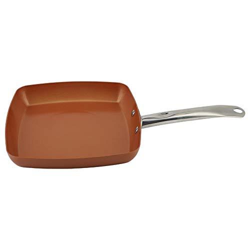 Poêle à frire antiadhésive carrée, mini-poêle à frire, poêle à frire avec fond plat, poêle pour œufs, compatible avec les cuisinières à gaz et à induction