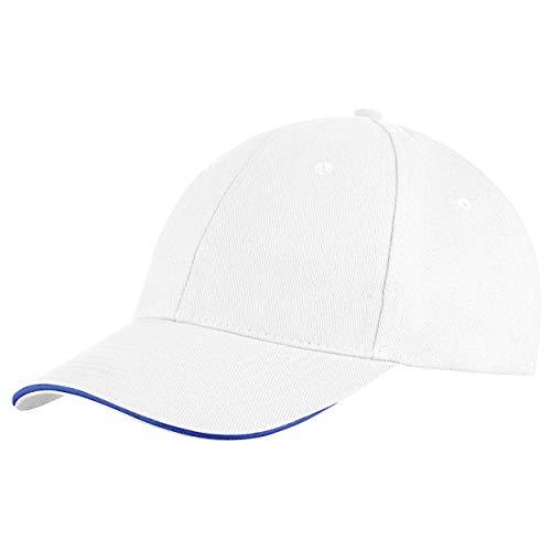 Style Klassische Baseball Cap für Damen und Herren aus reiner Baumwolle, verstellbar, Basecap Kappe Mütze Hut (Weiß)