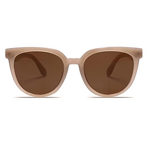 SOJOS Gafas de sol Polarizadas para Mujere Hombre Estilo Redondo de moda Lente de protección UV400 My Mind SJ2175 con Marco marrón / lente marrón