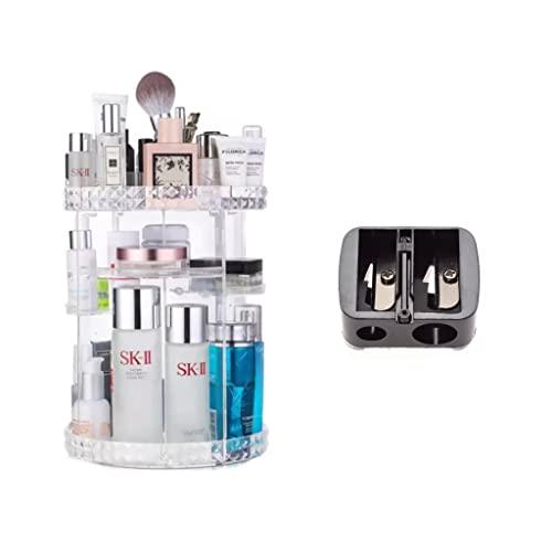 ISCEN Organizador Maquillaje Giratorio 360 Grados + Sacapuntas. Clasificador para Guardar Todo Tipo de cosméticos, brochas, perfumes y pintalabios. Es Ajustable y Trasparente.