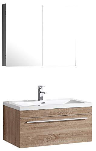 Badkamerset T900 Basic, gebleekt eiken - spiegel en wandmeubel optioneel, spiegel:Zonder spiegel, Bovenkast:Met hangende kast