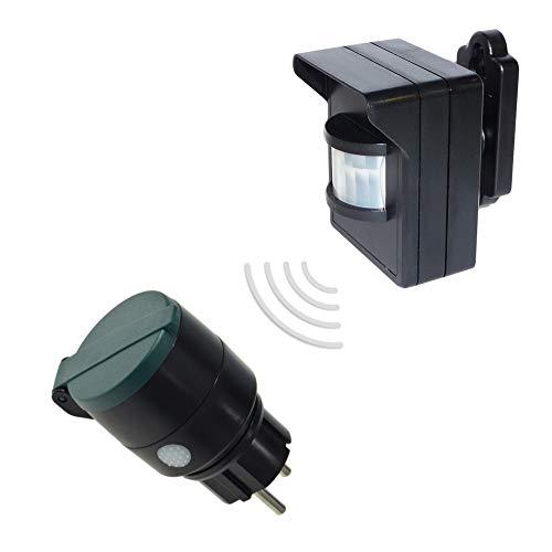 Funk-Set mit Außen PIR-Bewegungsmelder mit Batteriebetrieb und Außen-Steckdose 230V