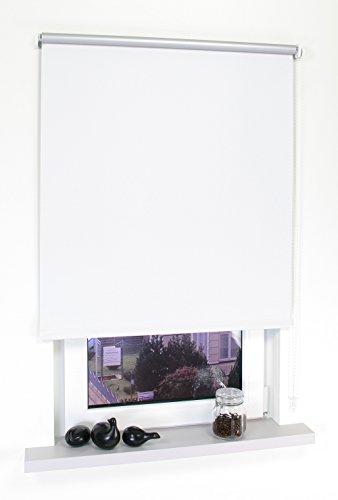 HOMELIA Seitenzugrollo Thermo- Verdunklung, mit silberner Thermo-Beschichtung, Made in Germany, 062 x 180 weiß/Wand-und Deckenmontage