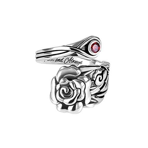 Anillo de piedra de nacimiento personalizado Anillo de plata con nombre de rosa para mujer Aniversario de cumpleaños(Plata 20.25)