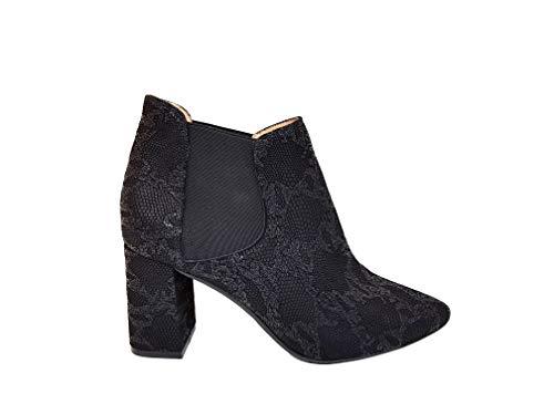 Genia – Midrio – Chelsea-laarzen van zwart leer voor dames met fijne punt – hak 7 cm – elastische sluiting – modieus – elegante laarzen met dierenprint – slang verchroomd zwart