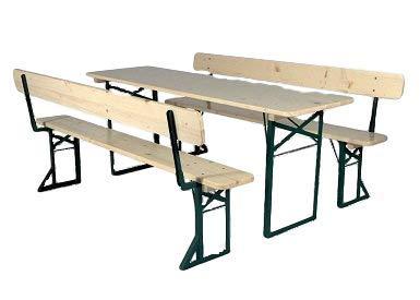Kunibert Ensemble de bancs pliables avec dossier de banc pliable - Couleur : naturel/vert - Qualité brasserie - Largeur de la table : 50 cm - Longueur : 220 cm