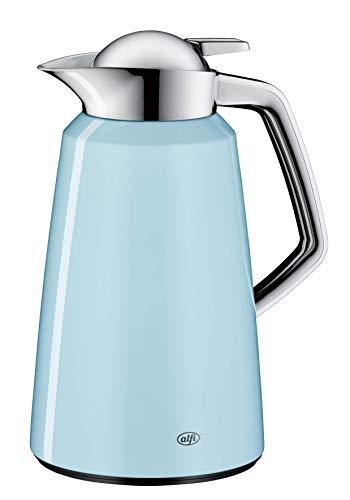 alfi Isolierkanne Vito, Metall blau 1L, mit alfiDur Glaseinsatz, 1611.257.100, Thermoskanne hält 12 Stunden heiß, ideal als Kaffeekanne oder Teekanne, Kanne für 8 Tassen