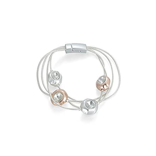 Cadena de plata de las señoras con los encantos de oro rosa y plata con el centro de cristal accesorios de