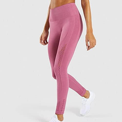 CYMTZ Pantalones De Yoga De Cintura Alta, Mallas Sin Costuras para Gimnasio, Mallas Elásticas Altas para Mujer, Pantalones Deportivos para Correr, Yoga, M 2-H