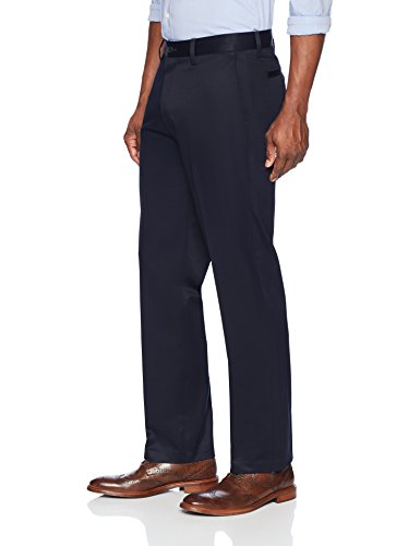 Buttoned Down Relaxed Fit Stretch Non-Iron Dress Chino Pants, Bleu Marine, 42W x 30L