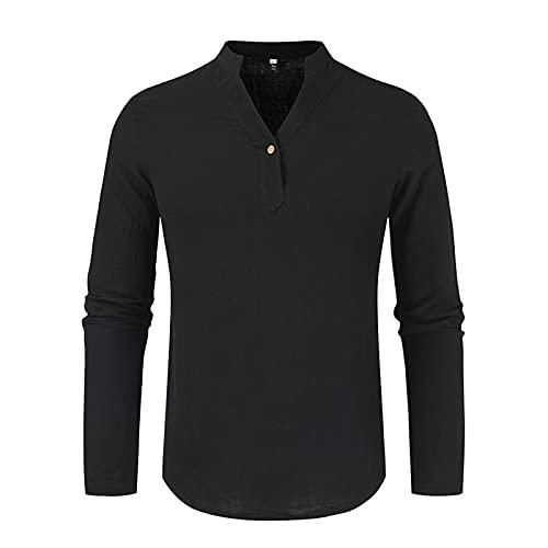 Tpingfe Mens Long Sleeve Pullover V Neck Casual Slim Fit Basic Casual Sweatshirt Work Shirt Yoga Top Single Button Black