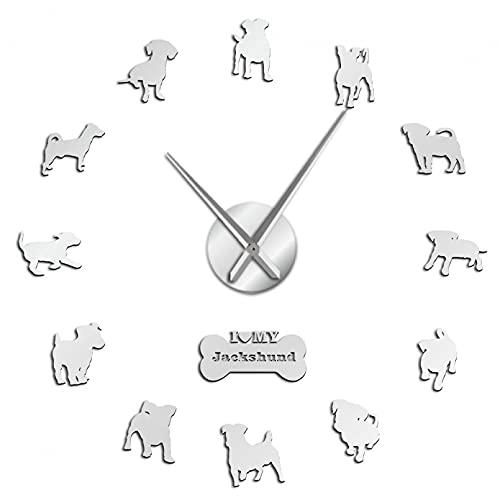 YQMJLF Reloj Pared DIY 3D Grande Jack Russell Terrier Perro Salchicha Mezcla Razas Perros acrílico DIY Reloj Pared Cachorros decoración Efecto Espejo Arte Pared Salon Decor casa Plata