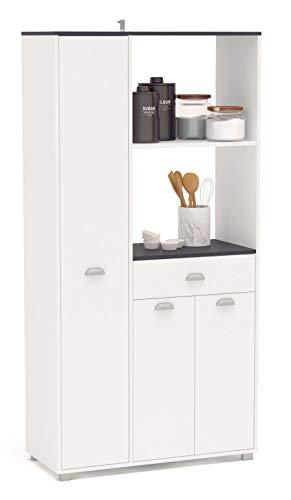 SZ Suarez Buffet Asfeld Color Blanco 2 armarios 1 Cajon almacenaje Cocina Mueble Moderno 180x90x40 cm