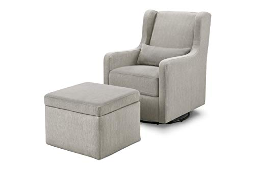 Carter's by DaVinci Adrian Swivel Glider with Storage Ottoman Performance Grey Linen, Water Repellent and Stain Resistant Fabric, Greenguard Gold Certified