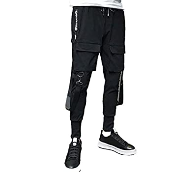 OutTop Men s Cargo Pants Slim Cuffed Leg Drawstring Sweatpants Elastic Waist Casual Joggers Pants with Cargo Pocket  Black XXXL