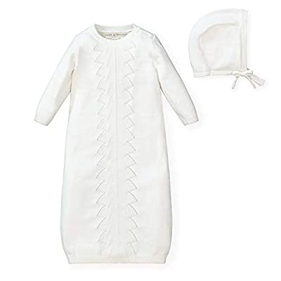 Hope & Henry Layette Long Sleeve Sweater Gown and Bonnet 2-Piece Set