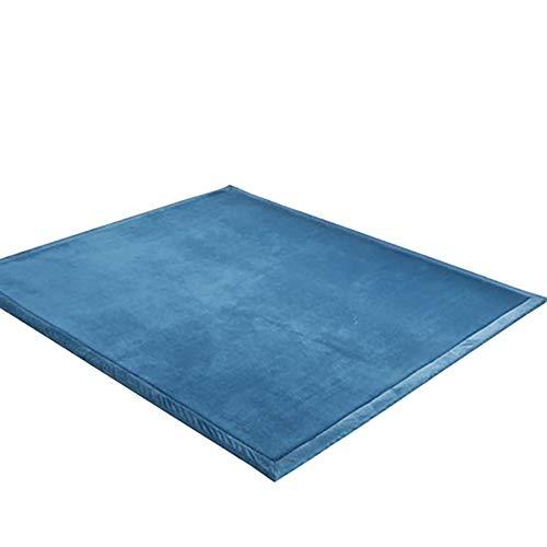 Kinderen kruipend tapijt voor woonkamer, niet-slip Baby Safe Tapijten, baby Slaapkamer, 3 cm Dikke Koraal Fleece Mat Lake Blauw 200x200cm (79x79inch)