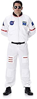 Male Astronaut Jumpsuit Costume - Halloween Mens Space Cadet, White