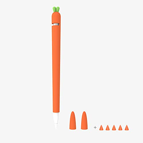 Love Mei Silicone Case for Apple Pencil Silicone Sleeve for 1st Generation Holder Protective Skin Cover case for iPad, Cute Carrot Accessories Soft Grip Pouch with Pencil Tip Cover /1st Orange