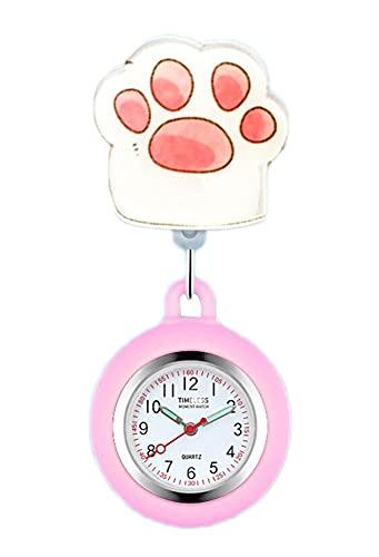 Black Temptation Reloj de Enfermera retráctil Reloj de Bolsillo con Clip portátil Reloj de Bolsillo con diseño de Dibujos Animados Lindo Reloj de Enfermera con Segunda Mano para médico, F29
