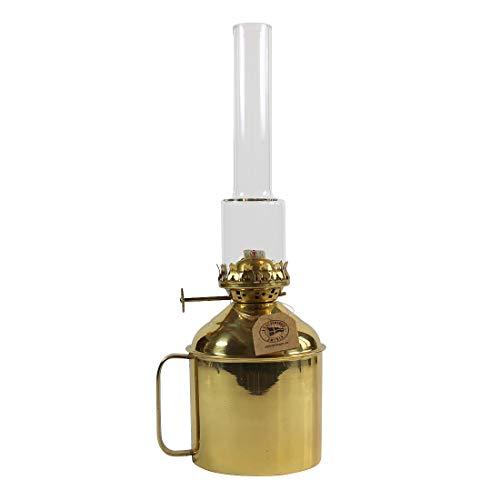 Heinze Petroleumlampe Linne aus poliertem Messing mit Handgriff, Höhe 26,5 cm, Messingbrenner und 11 mm Docht, Glaszylinder, Behälterbreite 10 cm, Leuchtdauer 29 Std.