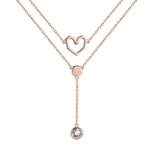 AYJMA Colección de San Valentín 925 Capas Dobles Amor Corazón Cadena Collares Pendientes Mujeres Joyería Femenina