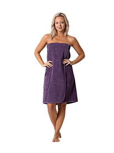 Women's Terry Cloth Spa and Bath Towel Wrap with Adjustable Closure & Elastic Top (Plum, Large/One Size)