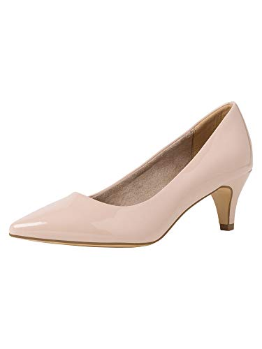 Tamaris Damen Pumps 22495-34, Frauen KlassischePumps, Court-Shoes Absatzschuhe Abendschuhe stöckelschuhe Damen Lady,Nude PATENT,39 EU / 5.5 UK