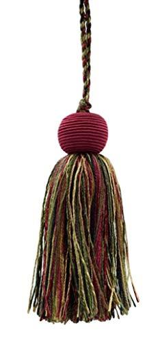 DecoPro décoratifs 10 cm Tassel Cherry Rouge, Vert Olive, Jaune doré, Black Veranda Collection Style # VTS Color : Evergreen Berries – Vnt19, Vendu à l'unité
