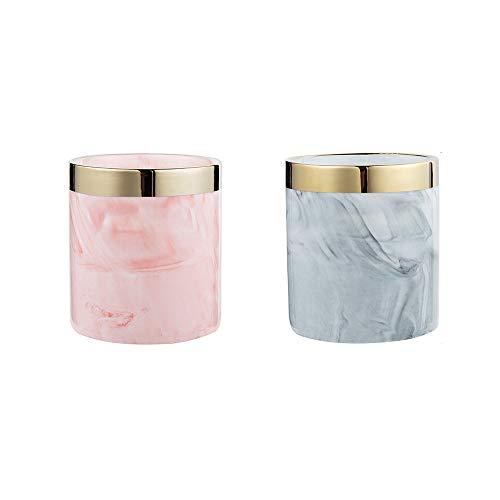 Review wuchenmin 4Pcs Ceramic Makeup Brush Tube, Marble Pattern, Gold Welt, Multi Purpose, Eyeliner,...