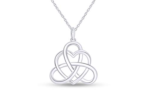 Jewel Zone US Good Luck Irish Triangle Heart Celtic Knot Vintage Pendant Necklace 14k White Gold Over Sterling Silver, 18' Chain