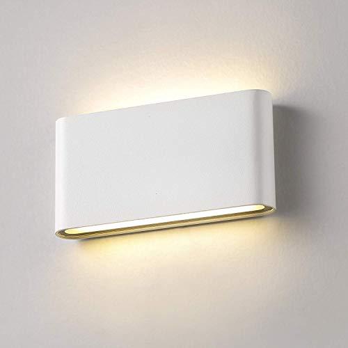 XIAJIA-12W LED Apliques de Pared Lamparas de Pared impermeable IP65 con Luz Universal para Decoración de Casa Jardín de Lluminación de Exterior y Lluminación de Interior (Blanco/blanco cálido)