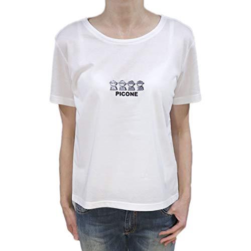 ピッコーネ スタジオ ピッコーネ STUDIO PICONE レディース Tシャツ 吸水 速乾 クルーネック コットン 綿 半そで (pico_w20ss94s) (ホワイト(白))