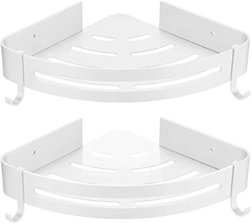 HBselect 2Pcs Duschablage ohne Bohren Duschregal Eckregal mit 2 Haken Aluminium Duschkorb rostfrei Wasserdicht Badezimmer Küche (weiß)