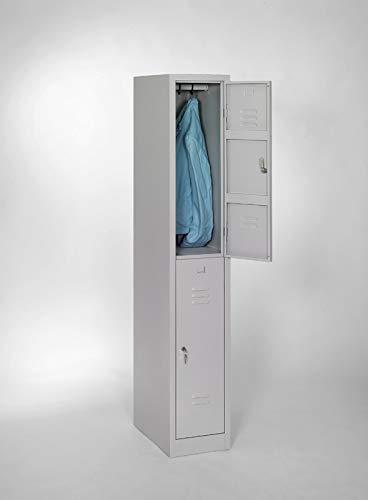 furni24 Garderobenschrank, Schließfach, Spind, Umkleideschrank, Kleiderschrank Abteilbreite 30 cm 2-türig