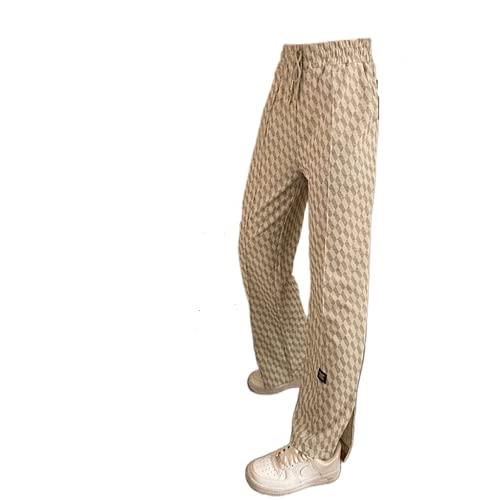 ADYD Mujeres Y2K cintura alta con cordón pantalones de chándal a cuadros impresos laterales divididos pantalones casuales de salón Streetwear, blanco, M