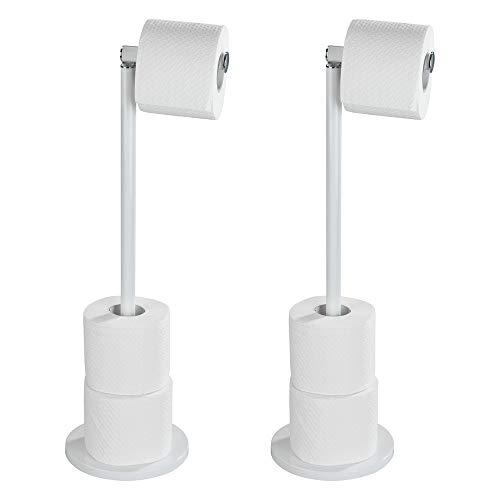 Wenko 69499800 Stand Toilettenpapierhalter 2 in 1 Weiß, 2er Set