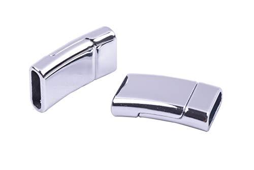 KONMAY 5 Sets 12.0x3.5mm Flat Magnetic Jewelry Clasps for Bracelets, Shiny Rhdodium