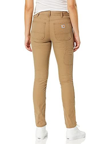 Carhartt Women's Slim Fit Crawford Double Front Pant, Yukon, 8