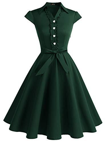 WedTrend Damen 52er Retro Herzform Knopf Rockabilly Kleid Kurzer Ärmel A-Linie Kleider WTP10007-2ForestGreen-XLarge