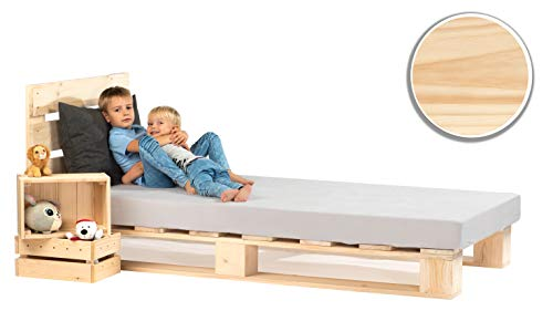 sunnypillow Palettenbett mit Kopfteil 90 x 200 cm Holzbett Bett aus Paletten Palettenmöbel Naturholz Fichte europalette