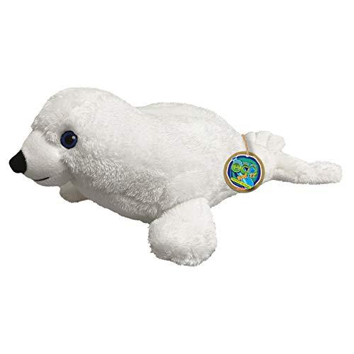 EcoBuddiez - Foca Arpa de Deluxebase. Peluche pequeño de 28 cm elaborado con Botellas de plástico recicladas. Lindo Peluche ecológico con Forma de animalito para niños pequeños.