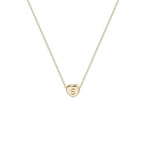 Tiny Gold Initial Heart Necklace-14K Gold Filled Handmade Dainty Personalized Heart Choker Necklace For Women Letter S
