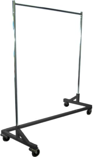 Only Hangers GR600 Heavy Duty 400lb Capacity Z Rack, 63 Length with Adjustable Height Chrome Uprights and Black Base with Commercial Grade Casters, One Rack