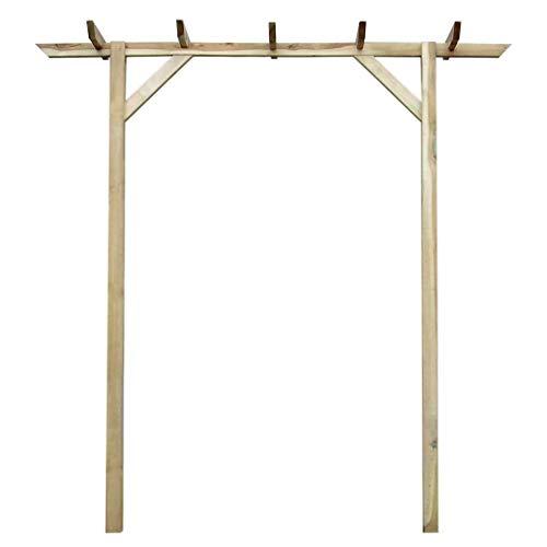 AYNEFY Pérgola de jardín de madera para entrada, pérgola de madera, patio, enrejado, arco, plantas trepadoras, 200 x 40 x 205 cm