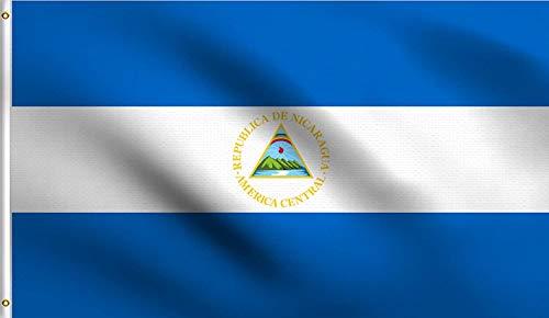 Ericraft Bandera Nicaragüense Grande 90x150cms Bandera de Nicaragua de balcón para Exterior Reforzada y con 2...