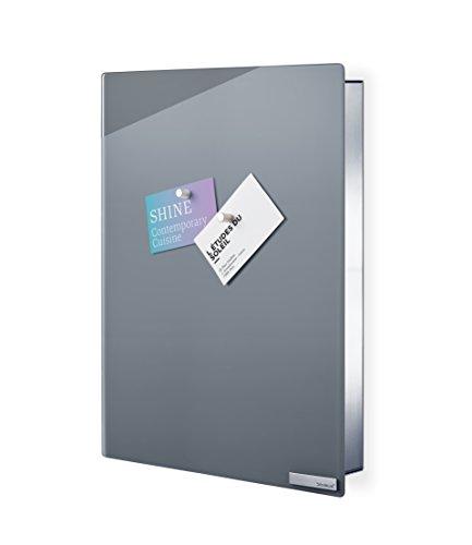 blomus -VELIO- Schlüsselkasten / Glasmagnettafel in trendigem Grau, hochwertige Verarbeitung, 14 Schlüsselhaken, magnetischer Verschluss, moderne Schlüsselbox (B / H / T: 5 x 30 x 40 cm, Grau, 65368)