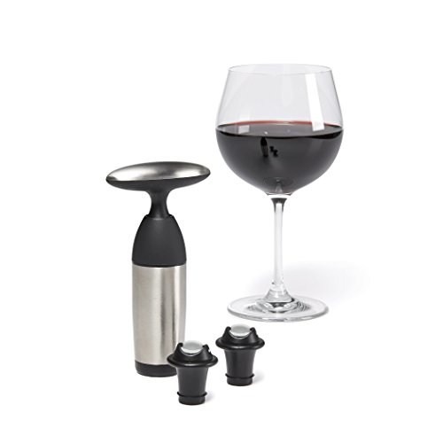 OXO 3110800 SteeL Vacuum Wine Saver and Preserver with Two Stoppers,Silver